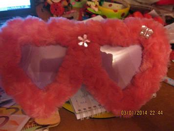 Сувенир рамка фоторамка 2 сердца розовая меховая валентина любовь