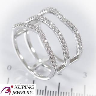 Кольцо родированное, широкое с камнями