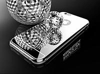 Чехол  2 в 1 чехол зеркальный серебрянный + металлический бампер для Iphone 6/6s