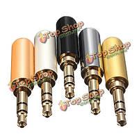 3-полюсный штекер для наушников мужской металл аудио +термоусаживаемые трубки