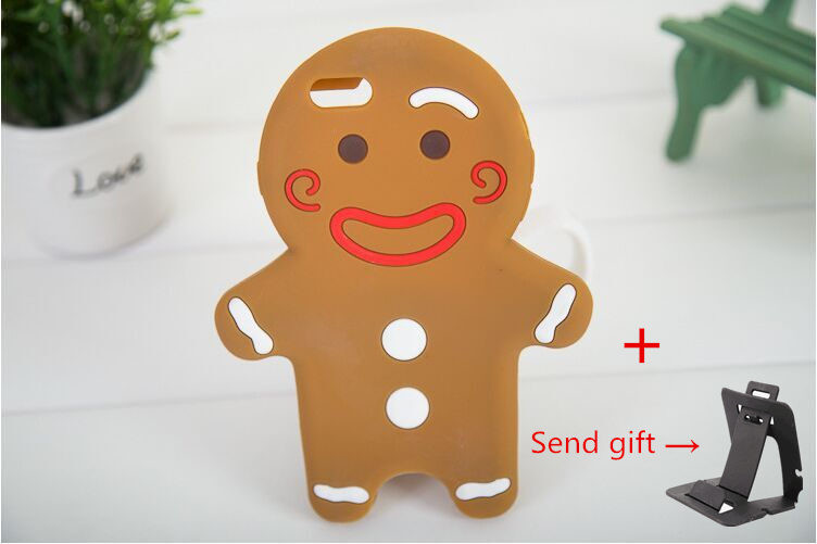 3D Cartoon Gingerbread Man Cookie Biscuit Soft Silicone для iPhone 6/6S