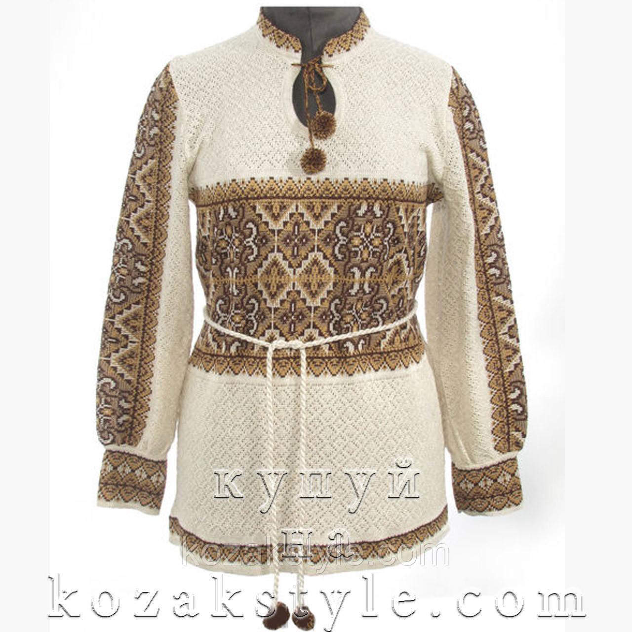 Туніка в українському стилі з коричневим орнаментом