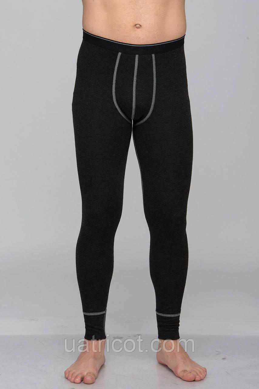 Кальсоны мужские с пришивной резиной KIFA КМ-618 черные с серым