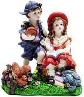 Статуэтка девочка с мальчиком цветная статуэтка 130х155х80, фото 1