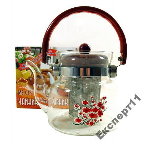 Заварник для чая из термостойкого стекла 0,8 л