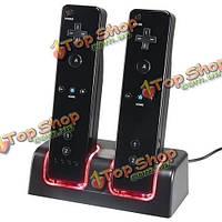 Новое зарядное устройство док-станция + 2 х аккумуляторная батарея для Nintendo Wii дистанционный
