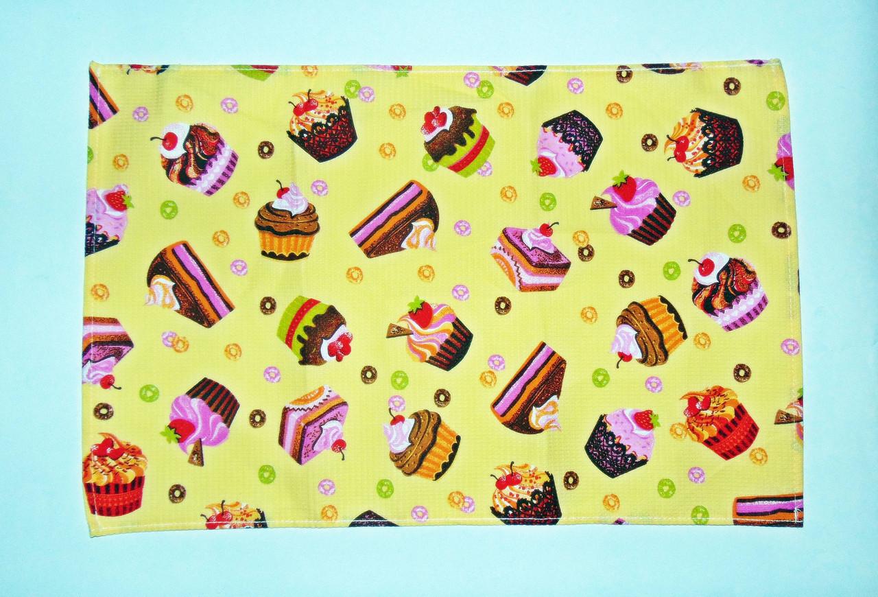 """Кухонне вафельний рушник """"тортики"""" жовте 55х35см"""
