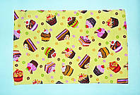 "Кухонное вафельное полотенце ""тортики"" желтое 55х35см"
