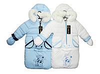 Комбинезон детский зимний (тройка) трансформер на овчине Снеговик, фото 1