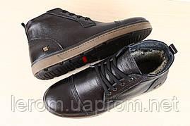Мужские ботинки на меху чёрные кожаные