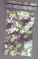 Ромбики для дизайна ногтей. Цвет: прозрачные белый голографик