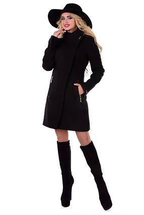 Женское черное осеннее кашемировое пальто арт. Эльпассо Турция элит 6688, фото 2