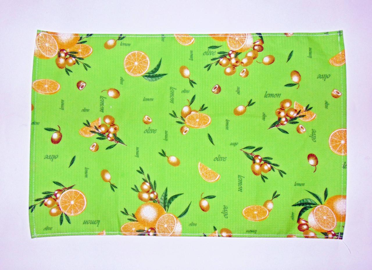 """Кухонное вафельное полотенце """"лимон-оливки""""салат 55х35см"""