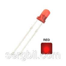 3мм светодиод красный, корпус красный