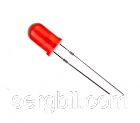 5мм светодиод красный дифузный индикаторный 200-300мКд