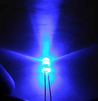 5мм светодиод синий 460нм,  ультраяркий 6000-8000мКд, длинный 20град
