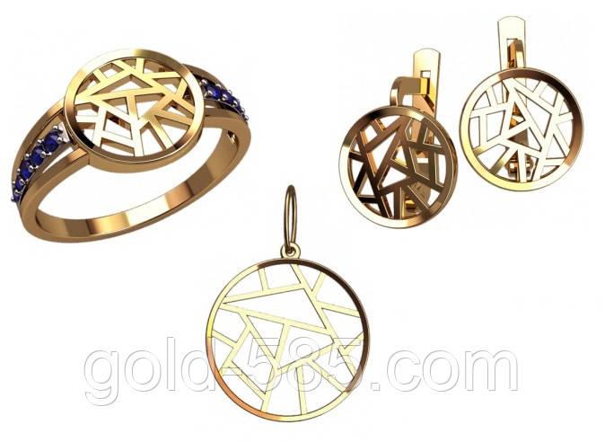 Стильный золотой ювелирный набор из кольца сережек и кулона - Мастерская  ювелирных украшений «GOLD- a1c81f14ecf