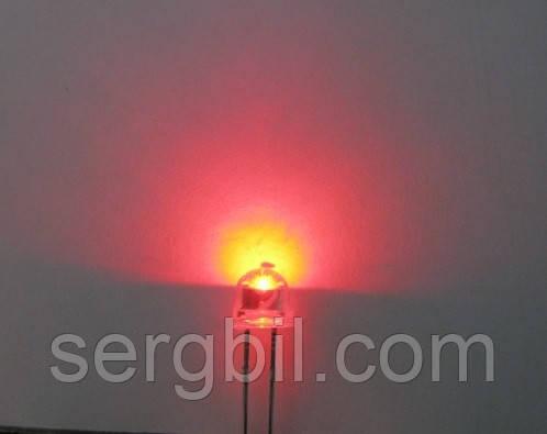 4.8 мм світлодіод червоний яскравий 620нм 400мКд 120°, корпус прозорий
