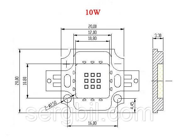 10Вт светодиод 20x20мм зеленый 520нм 900мА 10В HQ