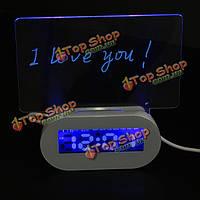 LED флуоресцентные светящиеся доски объявлений часы-будильник 4-портовый USB-концентратор