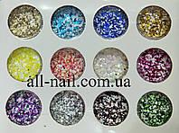 Шестигранники для декора ногтей набор 12 штук