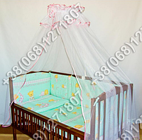 """Детское постельное белье в кроватку """"Карапуз"""" комплект 5 ед. (мишка на месяце салатовый)"""