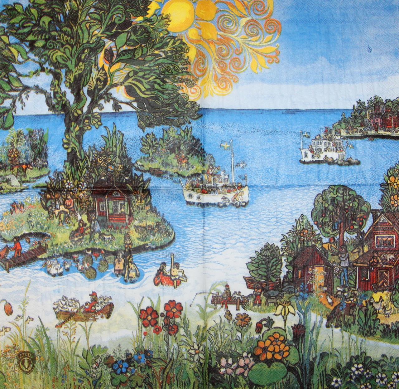 Декупажная салфетка Дивный остров 6078