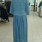 Костюм лен женский  голубой кос 002-3, юбка в пол и жакет лен ., фото 4