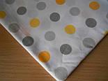 Лоскут ткани №268а  с серыми и жёлтыми горохами, размер 49*80 см, фото 2
