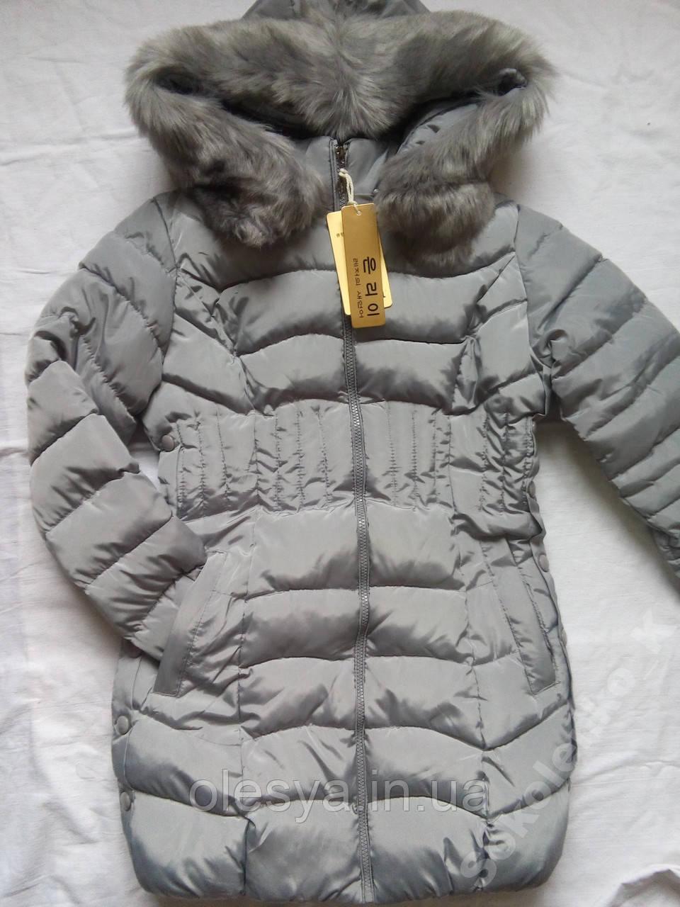 Зимняя женская куртка на холлофайбере размер 46 серая