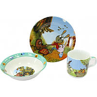 """Детский набор посуды из фарфора """"Винни Пух и Пятачок"""" 3 предмета"""
