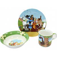 """Детский набор посуды из фарфора """"Три богатыря и Шамаханская царица"""" 3 предмета"""