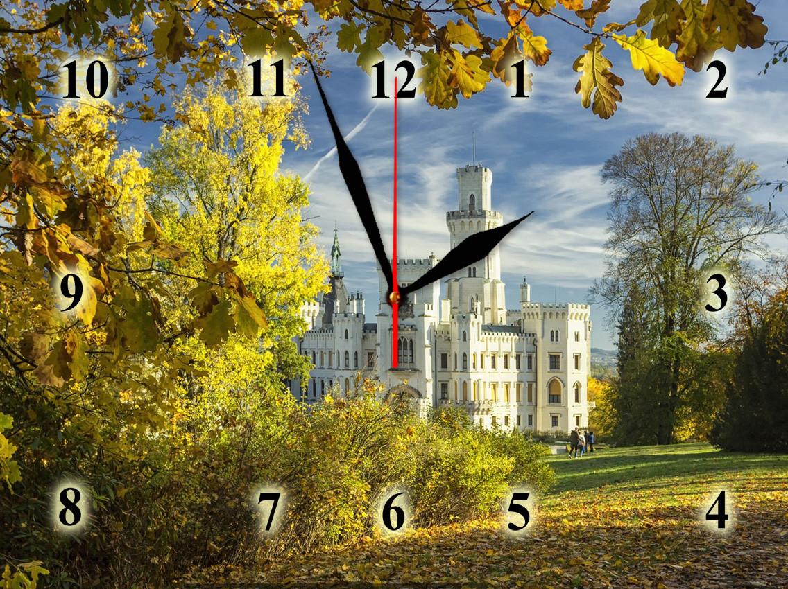 """Настенные часы """"Замок из белого камня""""  кварцевые"""