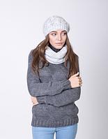 Очаровательный женский комплект - шапка и шарф-хомут 3001 (светло-серый)