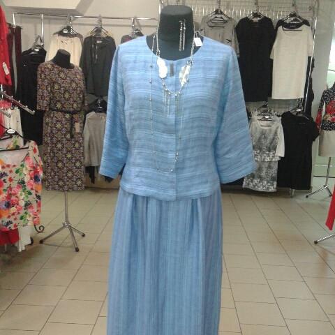 Костюм лен женский  голубой кос 002-3, юбка в пол и жакет лен .