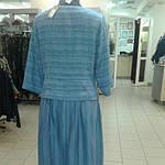 Костюм лен женский  голубой кос 002-3, юбка в пол и жакет лен ., фото 3
