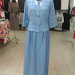 Костюм лен женский  голубой кос 002-3, юбка в пол и жакет лен ., фото 2