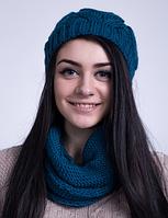 Яркий женский комплект - шапка и хомут 3001 (морская волна)