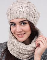 Вязаный женский комплект - шапка и шарф-хомут 3001 (лен)