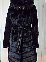 Шубка из овчины мутон с капюшоном и с норковыми цельными пластинами цвет- чёрный длина 98см 50р 52р 54р