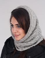 Вязаный женский шарф-хомут 3016 (серый)