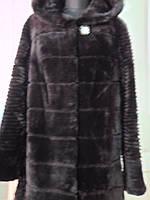 Шуба из овчины-мутон поперечка цвет коричневый с норкой на капюшоне длина 85см 48р 52р 54р