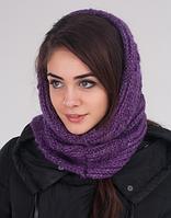 Яркий вязаный женский шарф-хомут 3016 (фиолетовый)