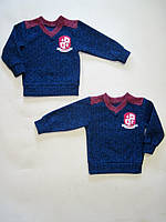Джемпер зимний  с вышивкой для мальчика, трикотажный драп. р.р.28-38