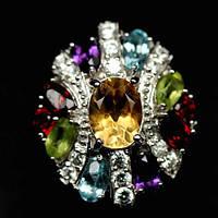 Кольцо с натуральными камнями мультипликатор - АМЕТИСТАМИ, ЦИТРИНАМИ, ТОПАЗАМИ, ГРАНАТАМИ, ПЕРИДОТОМ и фианита