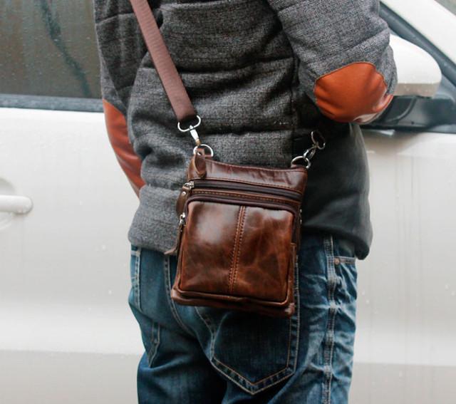 2f27986340b3 Мужская кожаная мини-сумка через плечо Marrant | коричневая, цена ...