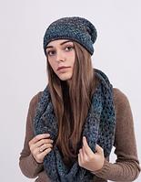 Женский комплект - шапочка и хомут 3024 (синий меланж)