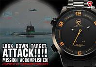 Мужские часы Shark Black Yellow Day Date Stainless Steel LED Men's Quartz Sport Wrist Watch