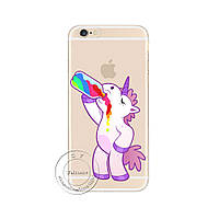 Cute Hippo Rainbow Unicorn Horse Clear Plastic Case Back Cover для iPhone 5/5S/SE