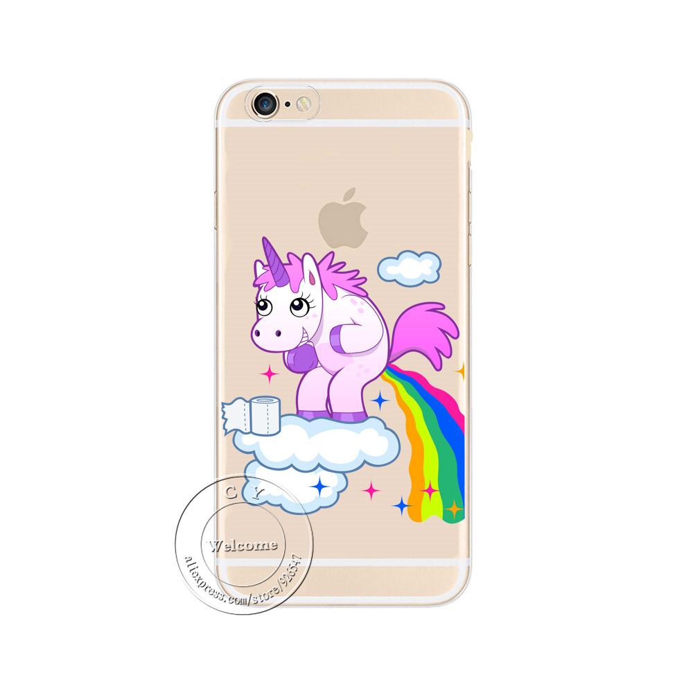 Cute Hippo Rainbow Unicorn Horse Clear Plastic Case Back Cover для iPhone 5/5S/SE